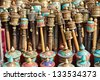 Nepalese Prayer Wheels on swayambhunath stupa in Kathmandu, Nepal - stock photo