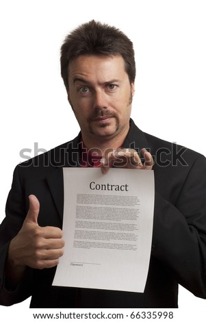 Nerdy looking business man, giving thumbs up to a fake contract. Studio Shot on white background