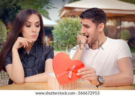 Nervous Boyfriend presenting his Gift to his Picky Girlfriend - Demanding girlfriend reacting to a present from her loved one