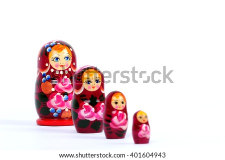 nested matryoshka dolls on a white background