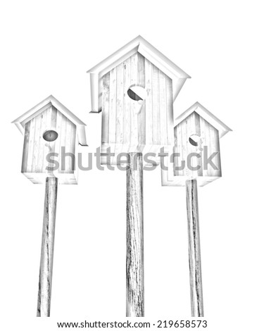 Nesting boxes on a white background. Pencil drawing