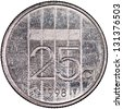 Netherlands 25 cents Silver Coin Reverse Isolated - stock photo
