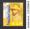 NETHERLANDS - CIRCA 2003: a postage stamp printed in Netherlands showing an image of a Van Gogh self portrait commemorative of the 150 anniversary of Vincent Van Gogh birth, circa 2003. - stock photo