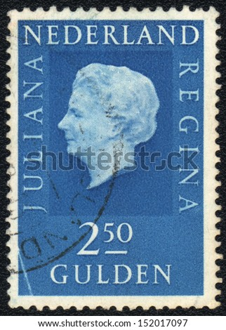 NETHERLANDS - CIRCA 1969: A stamp printed in Netherlands  shows Juliana Queen of Netherland, circa 1977