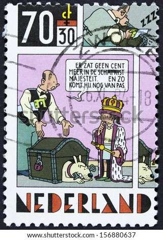 NETHERLANDS - CIRCA 1984 A stamp printed in Netherlands shows Strip Cartoons -The king and money chest, circa 1984  (2)