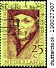 NETHERLANDS - CIRCA 1990: A stamp printed in the Netherlands shows Erasmus of Rotterdam, circa 1990 - stock photo