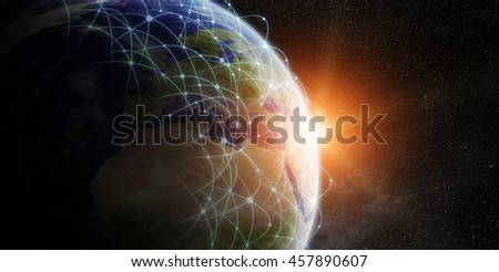 Network and data exchange over planet earth in space 'elements of this image furnished by NASA'