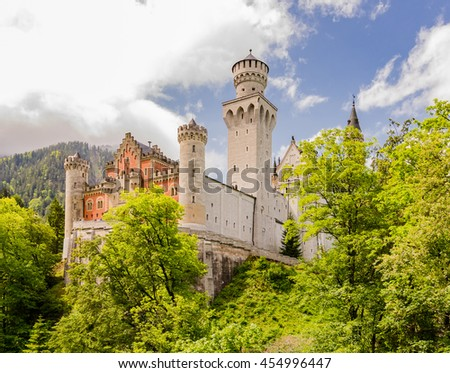 Neuschwanstein Castle is a nineteenth-century Romanesque Revival palace on a rugged hill above the village of Hohenschwangau near Fussen in southwest Bavaria, Germany.