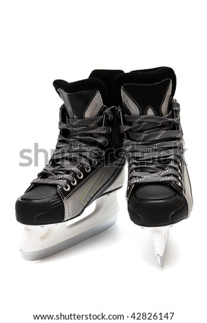 new and modern black skates close up