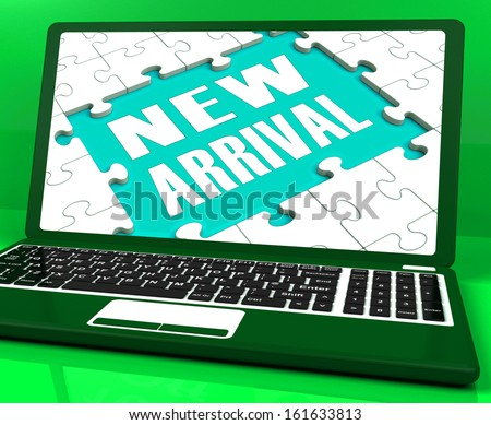 New Arrival Laptop Computer Showing Latest Products Announcement