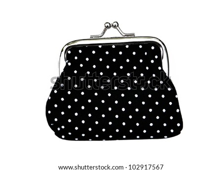 New Black Knit Change Coin Purse with clasp and polka dots pattern isolated on white