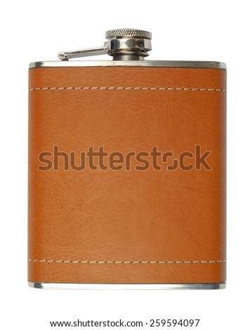 New brown leather flask for alcohol isolated on white