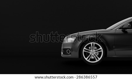 New CG 3d render of generic luxury detail sports car driving illustration isolated on a black background. Mockup with stylized noise effects
