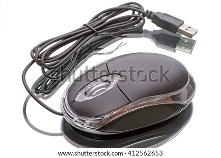 New computer mouse with light  isolated on white background