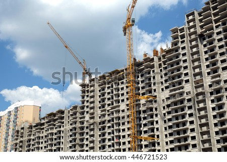 Apartment Building Construction new highrise modern apartment buildings construction stock photo