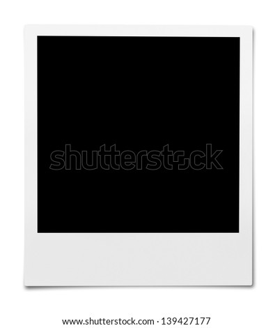New Instant Camera Picture. Isolated on white with shadow.