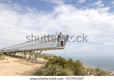New lookout near the Lighthouse of Santa Pola, Alicante, Spain. It is a coastal town located in the comarca of Baix Vinalopo, in the Valencian Community, Alicante, Spain, on April 2016.