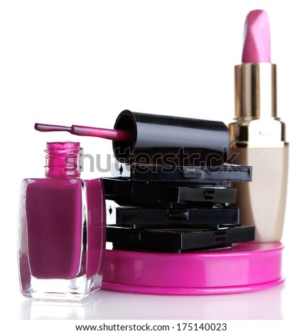New makeup set isolated on white