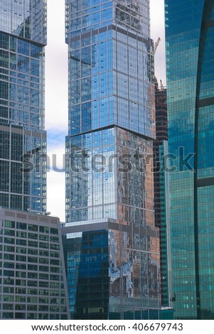 New modern office buildings in Moscow