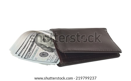 New one hundred dollar banknotes in leather wallet isolated on white background