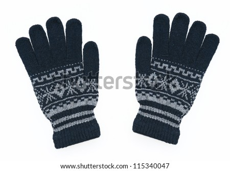 New Pair of Blue Knit Gloves with Pattern isolated on white background