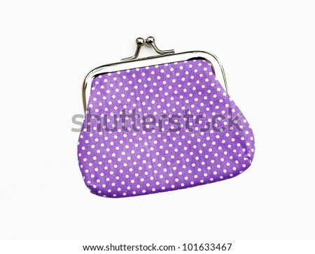 New Purple Knit Change Coin Purse with clasp and polka dots pattern isolated on white