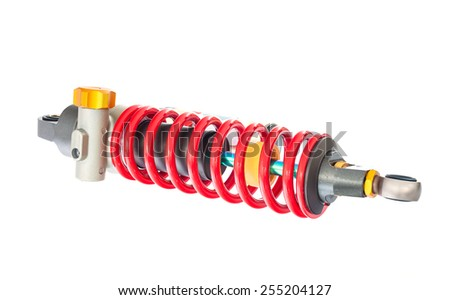 New red motorcycle suspension isolated on white background