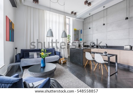New Style Multifunctional Apartment With Living Room And Kitchen Combined