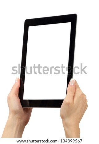 New tablet computer. Isolated over white background