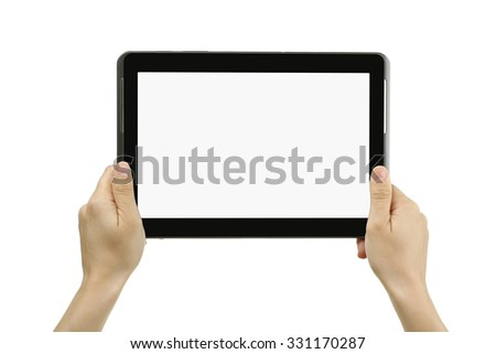 new tablet in the hands of the girl on a white isolated background