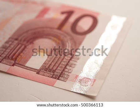 New ten euro banknote, isolated on white