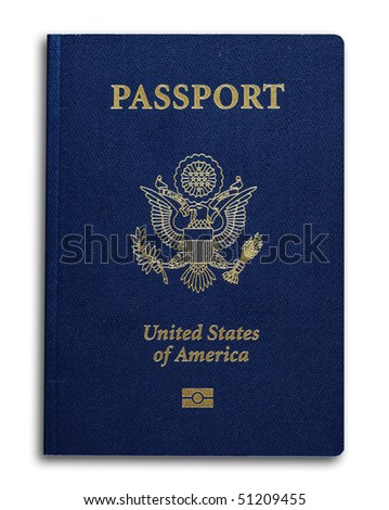 New US passport with ID chip isolated on white