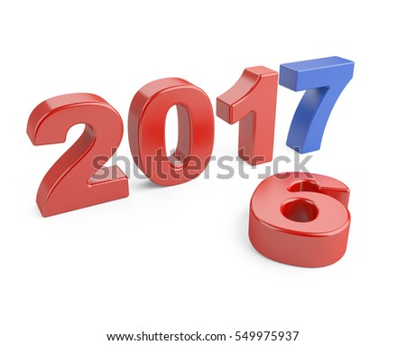 New Year 2016 - 2017, blue number seven top. 3d illustration isolated on a white background.