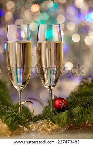 new year champagne christmas romantic new-year tree