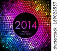 New Year 2014 - colorful disco lights background - stock photo