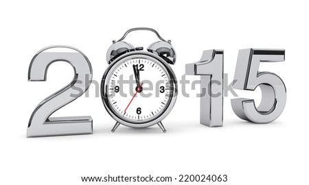 New year 2015 concept. 2015 steel sign with alarm clock on a white background