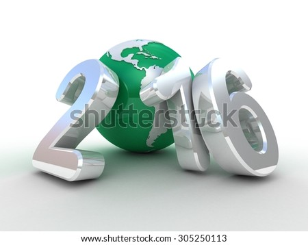 New year 2016 globe on white background