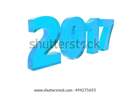 New 2017 year metal figures standing on the floor with shadow isolated on white background. 3D rendering illustration of 2017 number