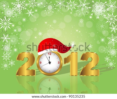 New Year's card. Golden figure 2012 with clock in cap. Raster version.