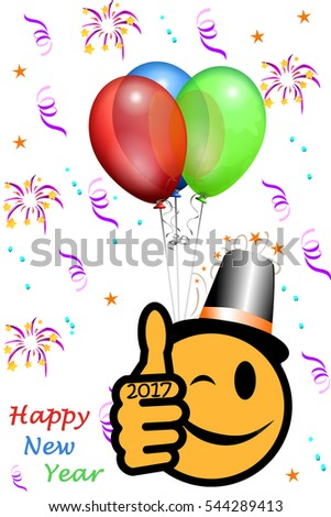 New Year's smiley with thumb up and year 2017, party background