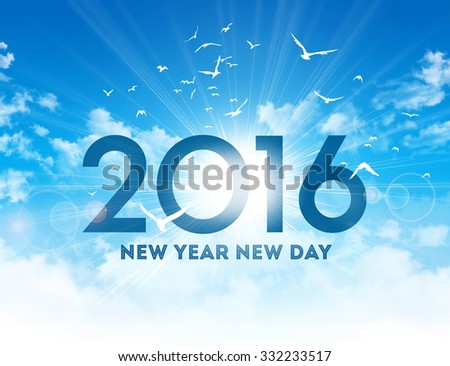 New Year 2016 type high in blue sky with the sunrise and birds flight
