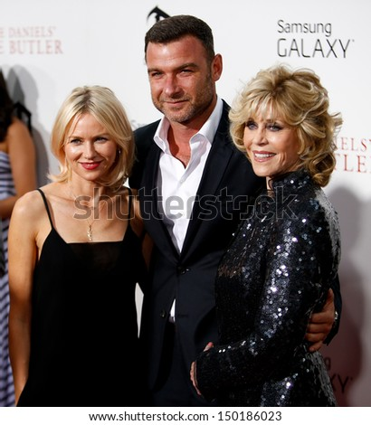 "NEW YORK-AUG 5: Actors Naomi Watts, Liev Schreiber and Jane Fonda attend the premiere of Lee Daniels' ""The Butler"" at the Ziegfeld Theatre on August 5, 2013 in New York City."