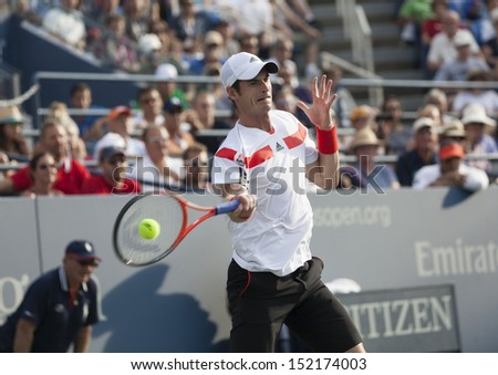 NEW YORK - AUGUST 30: Andy Murray of Great Britain returns ball during 2nd round match against Leonardo Mayer of Argentina at 2013 US Open at USTA Billie Jean King Tennis Center on Aug 30, 2013 in NYC