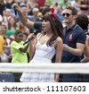 NEW YORK - AUGUST 25: Carly Rae Jepsen performs at Kids Day at US Open tennis tournament sponsored by Hess on August 25, 2012 in Queens New York - stock photo