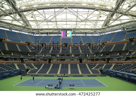 NEW YORK - AUGUST 25, 2016: Newly Improved Arthur Ashe Stadium with finished retractable roof at the Billie Jean King National Tennis Center ready for US Open tournament in Flushing, NY