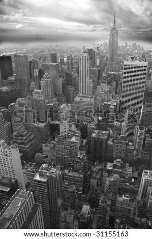 New York black and white vertical photo, Empire State Building visible in distance