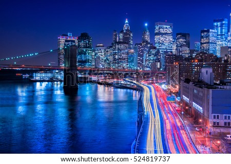 New York City - beautiful colorful sunset over manhattan