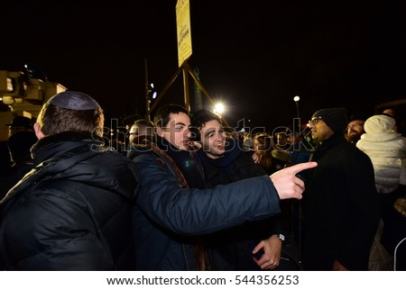 NEW YORK CITY - DECEMBER 24 2016: Chabad of Park Slope sponsored its annual giant menorah lighting in Grand Army Plaza to mark the first night of Hanukkah
