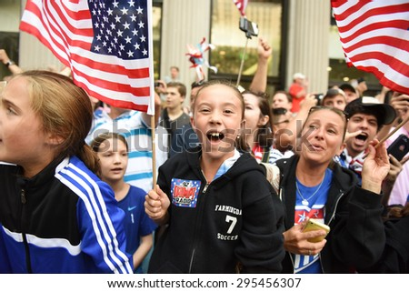 NEW YORK CITY - JULY 11 2015: a ticker tape parade was held for the champion US women's FIFA team along Canyon of Heroes on Broadway