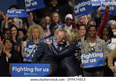 NEW YORK CITY - MARCH 29 2016: Democratic front runner Hillary Clinton appeared before supporters in Harlem's Apollo Theater to hear her address issues. Sen Charles Schumer with candidate